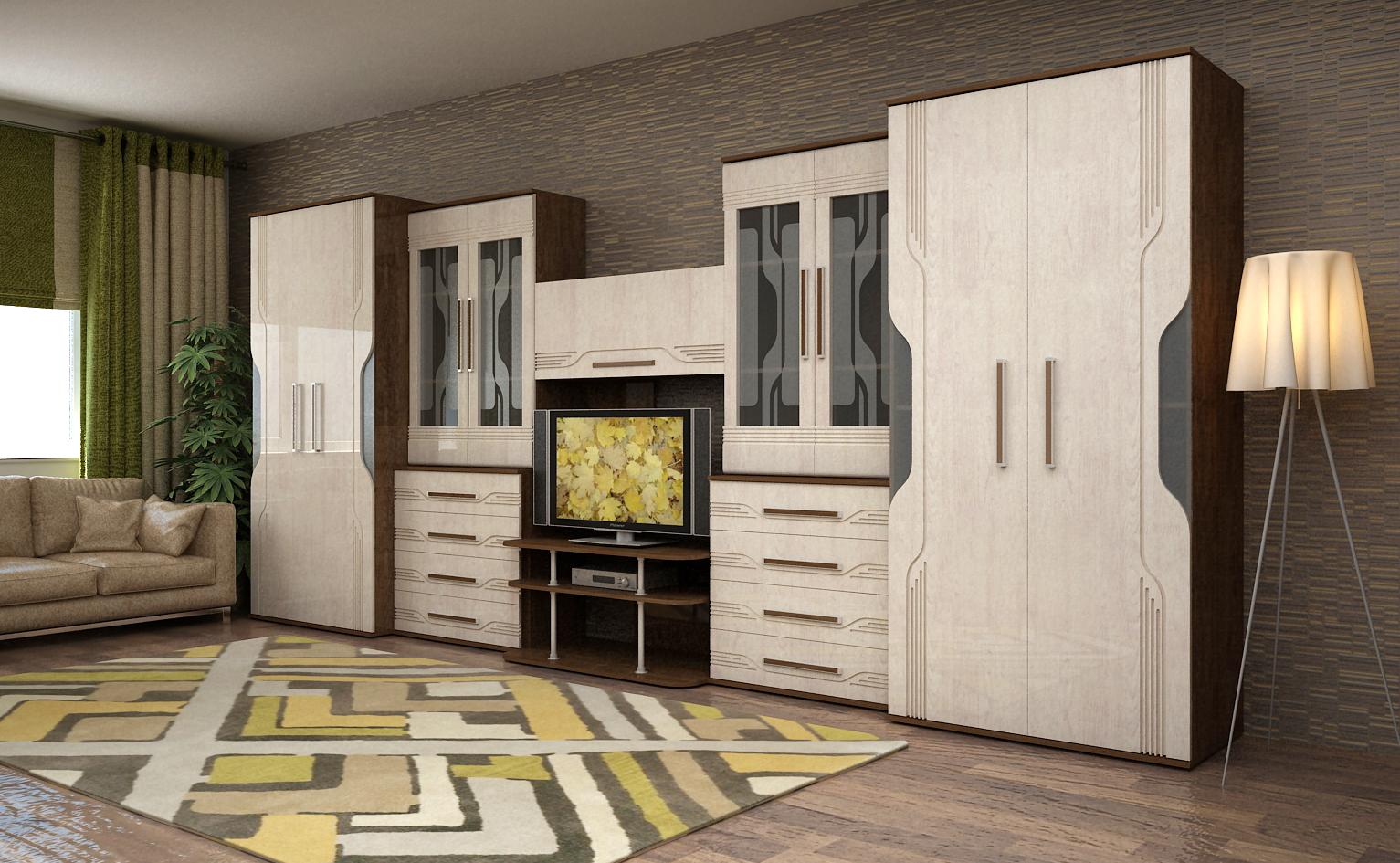 Купить стенку для гостиной на заказ по индивидуальным размер.
